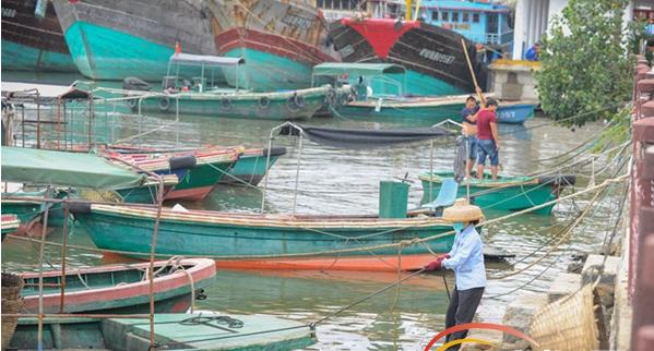 琼海市潭门渔港美容师:海上清洁队穿梭港口清理垃圾