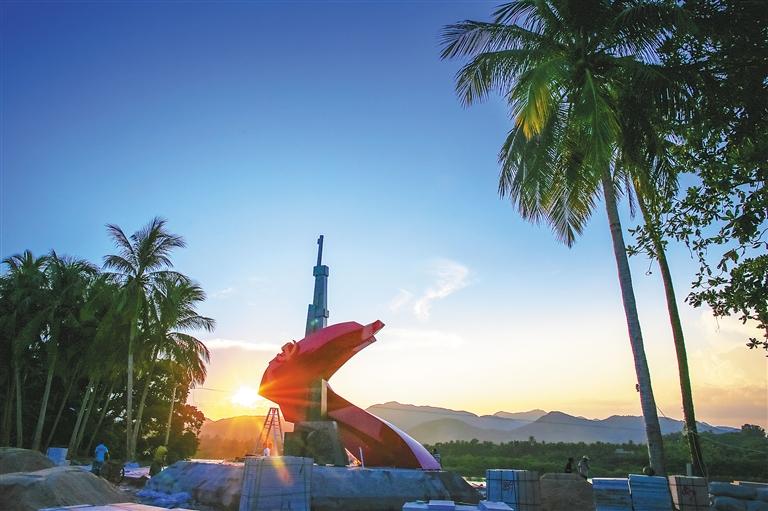 琼海椰子寨战斗主题雕塑基本建成