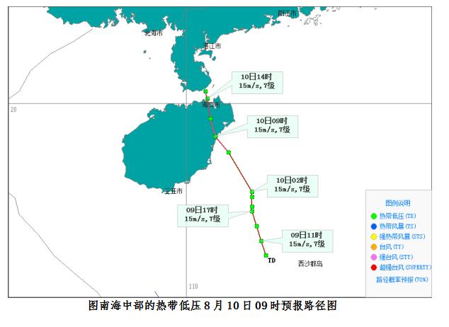 热带低压10日上午已登陆琼海潭门镇 10日~12日琼岛仍有强风雨天气过程