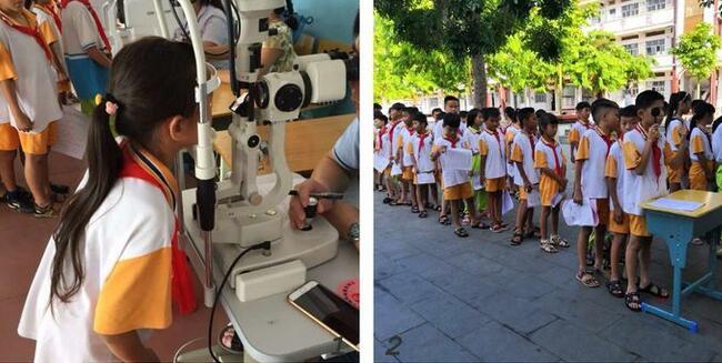 琼海市教育局联合市卫健委为潭门镇中心学校学生进行眼疾筛查活动
